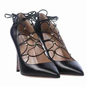 NWT $995 Valentino Rockstud LaceUp Suede Pump Heel